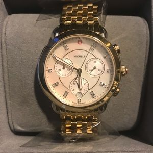 Michele Sidney Gold Mother of Pearl Diamond watch